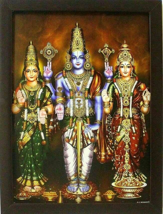 Lord Vishnu with wives Goddess Bhumi (also known as Bhu/Bhuma/Andal/Godadevi) and Goddess Lakshmi .