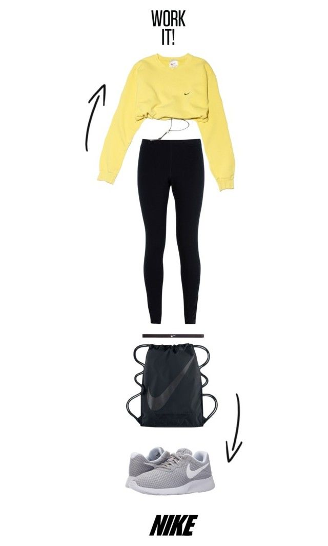 """""""Work it! top to toe in Nike"""" by thestyleartisan ❤ liked on Polyvore featuring NIKE, nike and CroppedHoodie"""