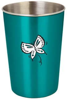Ecococoon Stainless Steel Cup :: Teal Butterfly. Ecococoon stainless steel cups for kids (and adults too!) are free from the harmful toxins leached by many plastics. They're also durable, safe, recyclable and ecofriendly. Paint used on the exterior is lead-free.