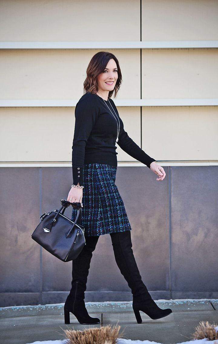 fe069f5e0d5 Winter Tweed Skirt Outfit with OTK Boots