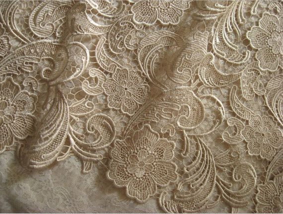 Popular champagne lace fabric venise lace fabric bridal lace fabric wedding dress lace