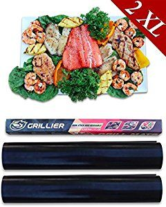 Grillier BBQ Grill Mat - Best Healthy Non-Stick Baking Sheet - Set of 2 XL Mats 20x16 - Ultimate Outdoor and Oven Cooking Liner - For Charcoal Gas and Electric Barbecue Grills #barbecue #BBQ #food #grill #summer #plancha #party