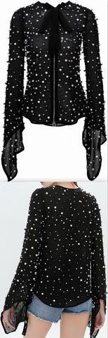 Bead-Embellished Chiffon Blouse - Black or White