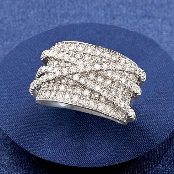 """Diamond """"Highway"""" Ring in 14kt White Gold. It's a two-way street: designers and fashionistas can't get enough of the statement-making """"highway"""" style ring. This beauty features 3.00 ct. t.w. diamond-kissed criss-crossed bands. >>Click on the Diamond Fashion RIng to see more options at Ross-Simons."""
