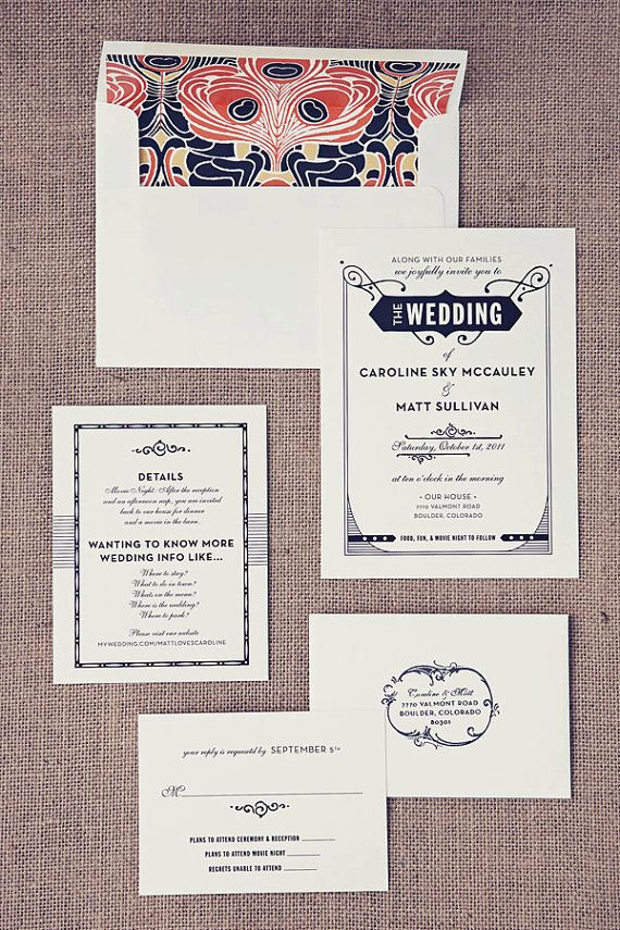 Gatsby Wedding Invitation Letterpress Wedding Invitation Art