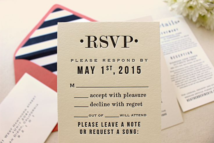Block font letterpress printed wedding invitation. The Hazel Suite.