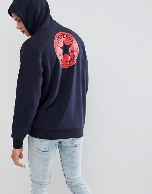 f594cbe09 Converse Pullover Hoodie With Chuck Patch In Navy 10006680-A03 ...