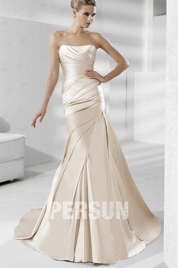Pleated Strapless Mermaid Satin Wedding Dress