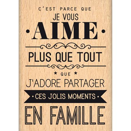 Tampon bois - Envolée de Douceur - Parce que je vous aime  - 6,5 x 4,5 cm