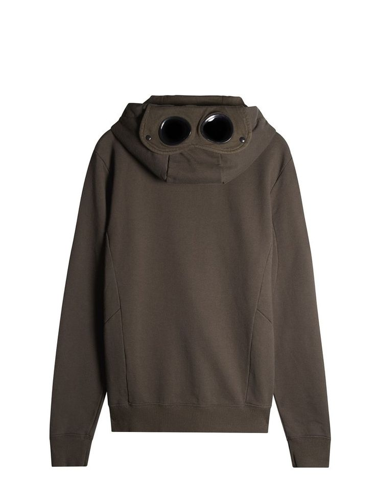 C.P. Company Hooded Zip Through Goggle Fleece in Khaki Green