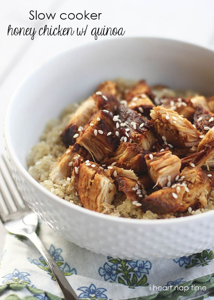 Slow cooker honey sesame chicken with quinoa on iheartnaptime.net ... super easy…