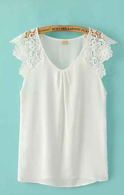 Super Cute and Comfy Summer Fashion! Perfect Top to wear with Jean Shorts! Pretty V-neck White Lace  Chiffon Sleeveless Blouse #Pretty #White_Lace #Summer #Fashion