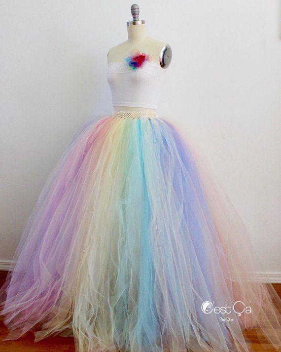 e324e3753cdd Pastel Rainbow Maxi Tulle Skirt, Puffy Rainbow Tutu, Alternative Wedding  Skirt, Plus Size Tulle Skir