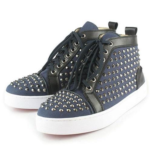 Cheap Replica Christian Louboutin Men Shoes Louis Spikes High-Tops Blue  Canvas For Sale