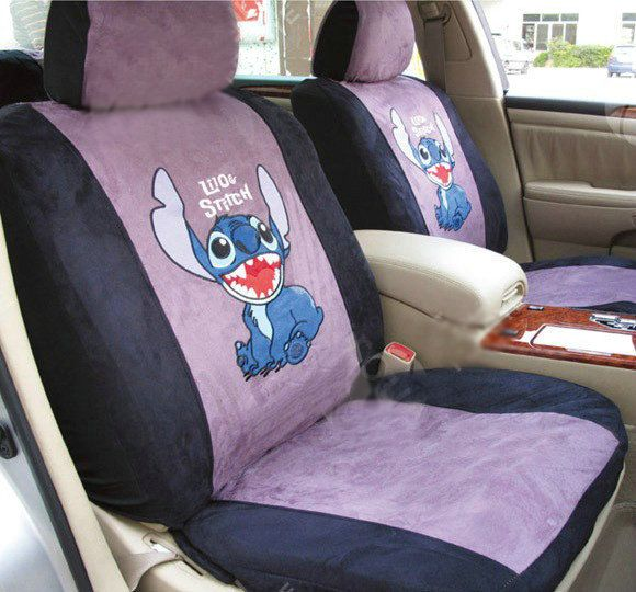 lilo and stitch car accessories | Disney Stitch Custom Auto Car Seat Cover Set Suede - Purple Black