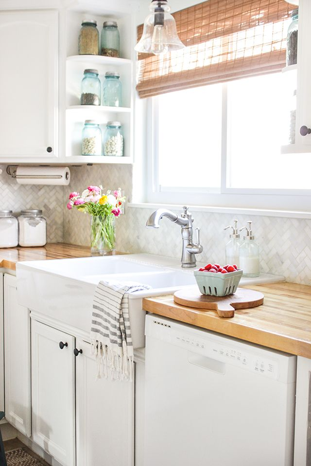 reveal and tour of a farmhouse style kitchen makeover on a budget shows before and - Budget Kitchen Sinks