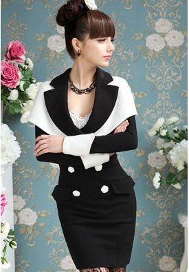 Chic Turn-down Collar Double-breasted Dress