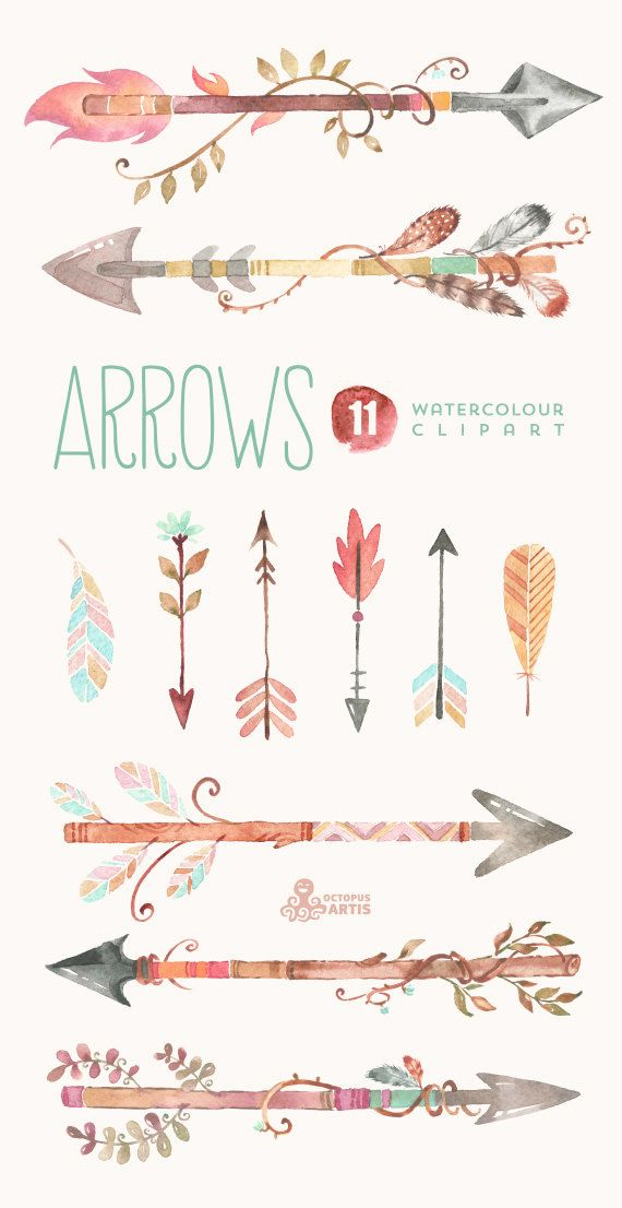 Arrows Watercolor Clipart. 11 Hand painted por OctopusArtis en Etsy