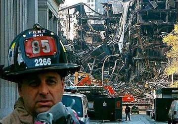The clean up continues at Ground Zero in New York City, Thanksgiving Day, 2001.