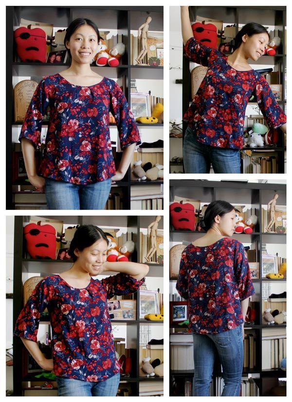 crédit photo blog cation designs Cette simple blouse est très facile à confectionner et c'est un projet de couture idéal pour les débutants. Choisissez un tissu imprimé pour cacher éventuellement les coutures dont vous n'êtes pas fièr(e) et vous pourrez finir les bords (encolure et manches) avec du biais posé à cheval ou bien avec un ourlet fin. Ce qui fait le charme de cette blouse, c'est son air un peu rétro quand elle est portée avec une fine ceinture ou bien rentrée dans une j...