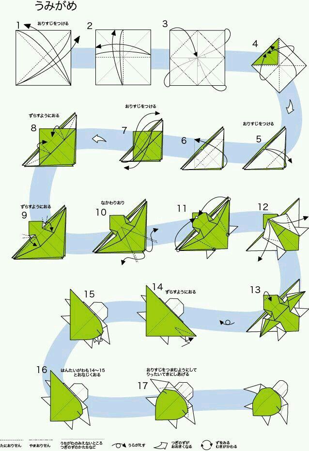 Tortuga / origami, papiroflexia, papel, animal, mar