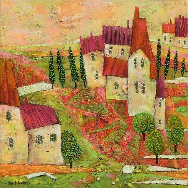 ۩۩ Painting the Town ۩۩  city, town, village & house art - Olga Kost