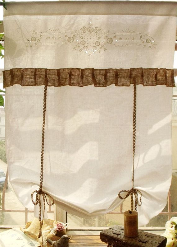 small window Curtain Flax LINEN Rustic Burlap London Shades white - Embroidered Flowers RUFFLED