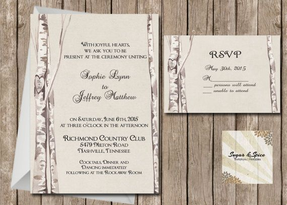 Rustic Birch Tree Wedding Invitation and RSVP, Western Birch Tree, Country Wedding, Digital File Printable