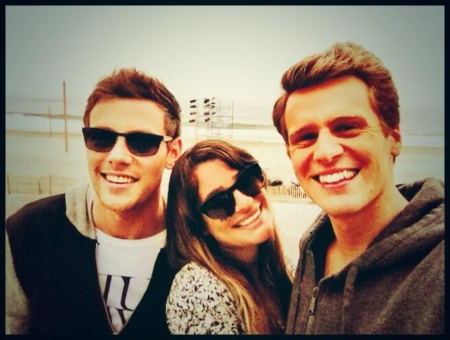 "Lea Michele tweets, ""Me and my two favorite boys ;)"" Cory Monteith & Jonathon Groff."