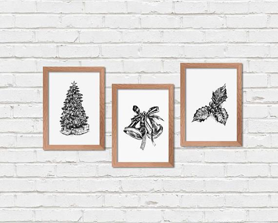 Set Of 3 Christmas Prints Black And White Christmas Signs Etsy Christmas Prints Christmas Wall Decor Christmas Wall Art