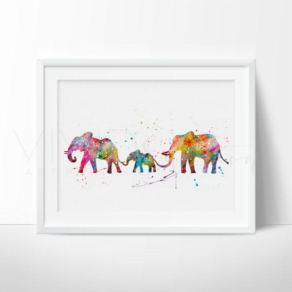 Elephant Family Animal Nursery Art Print Wall Decor. Affordable handmade nursery art prints that compliment any style nursery project you have in mind.