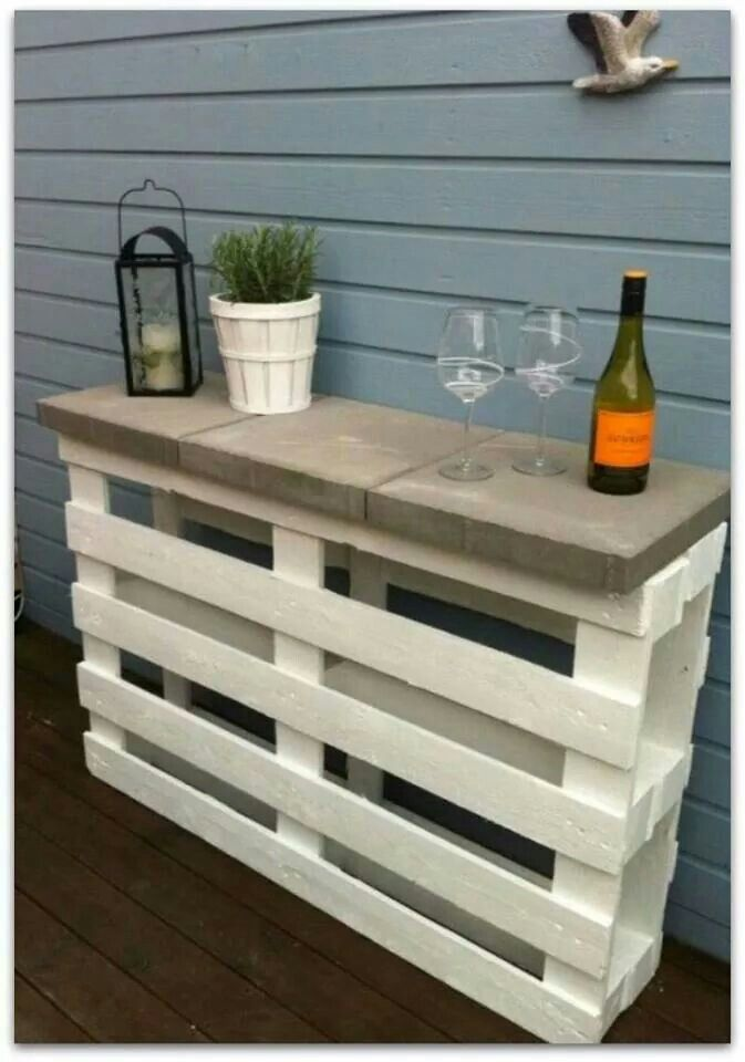 Bar made from pallets and landscape stones!    As background to garden, plant flowering vine at the base, flower pots on cinder blocks.