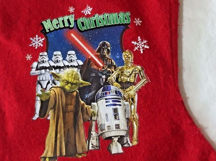 Disney Star Wars Christmas Stocking Yoda Darth Vader R2D2 C3PO Stormtroopers NWT