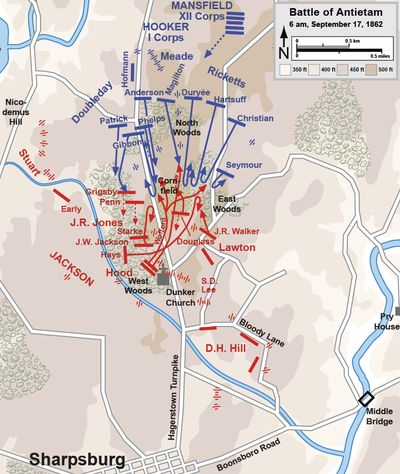 Battle of Antietam - Morning phase. Battle started at 5:30am with an artillery duel on the far (Confed) left flank. Jack and Jovie were still finishing a night march from Harper's Ferry at this point.