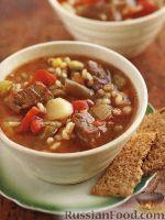 Фото к рецепту: Рагу из мяса, овощей и перловки, приготовленное в медленноварке