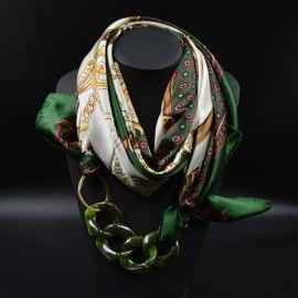 Silk Scarf Acrylic Pendant Multilayer Scarves Pattern Printed Muffler Designer