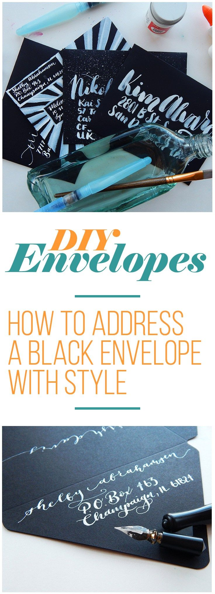 Diy Envelopes  How To Address A Black Envelope With Style