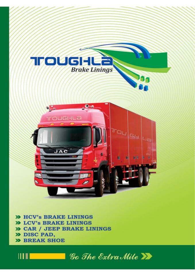 """Toughla Brake Linings & Brake Pad Manufacturers"" published by @WPhantoms on @edocr Toughla is a leading manufacturer of brake linings and brake pads. The company is headquartered at New Delhi. Toughla is supplying its products globally and it has a very strong product portfolio. Currently, the company manufactures products for a variety of brands like TATA, Ashok Leyland, Mercedes, Volvo, Mahindra, Maruti, Hyundai. Visit: www.toughla.com"
