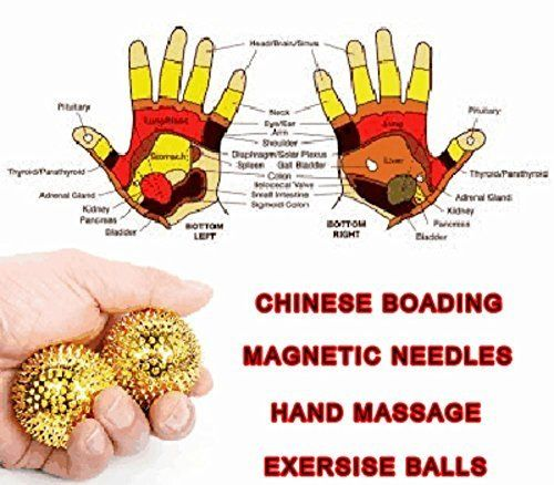 45.5 mm MAGNETIC STRESS BALLS: Best most popular healthy Chinese Hand Massage Acupuncture/Acupressure Needle Exercise Therapy For Carpal Tunnel Palm Relief.:   Magnetic Stress Balls: Most Popular Healthy Chinese Hand Massage Acupuncture/Acupressure Needle Exercise Therapy For Palm Relief. SIZE M: 45.5mm.(D) - 2 Magnetic stress balls. Massage acupressure points in the palm of your hand. EFFECTIVE - A Chinese hand acupuncture exercise fatigue reliever. CHINESE ACUPRESSURE - Base on tradi...