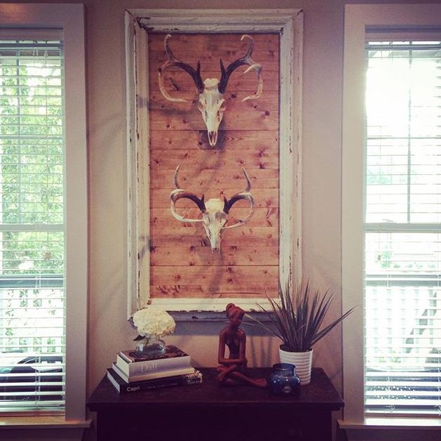 European mounts.. framed wood backdrop.