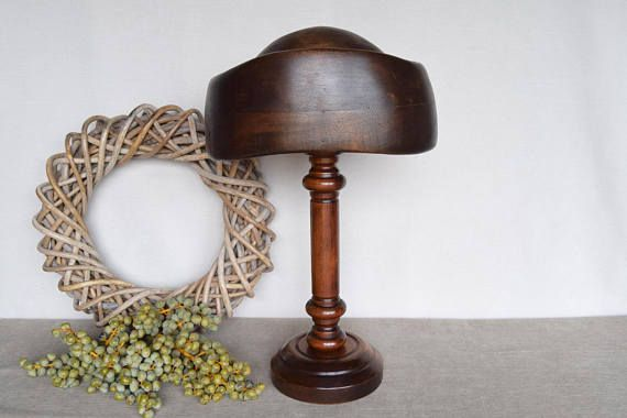 Old Vintage Wooden Millinery Hat Block Hat Mold Hat Form On Stand