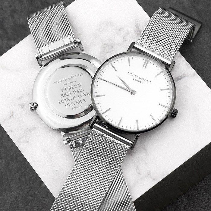 Personalised Men's Metallic Silver Watch | GettingPersonal.co.uk