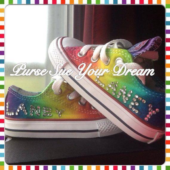 Custom rainbow tie dye Converse with crystal name monogram. ❤️