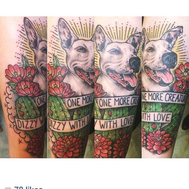 """From Bukowski's love is a dog from hell, not from the band Fireworks' song, """"one more creature dizzy with love"""" made for @frickinheck for her best bud Buster """"Francis"""". #dogtattoos #pitbulltattoo #hedgehogcacti #bukowski #nyspeakeasytattoo #speakeasytattoony"""