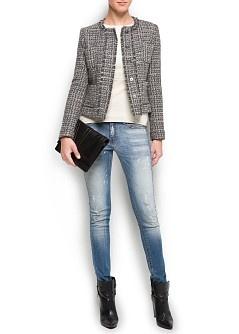 Frayed trims bouclé jacket