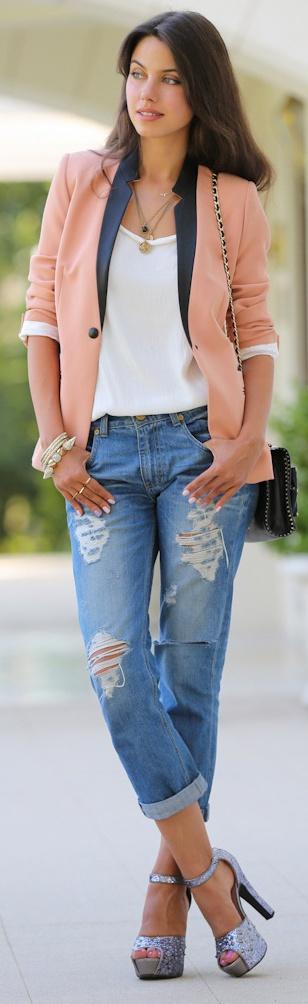 pink blazer, ripped jeans