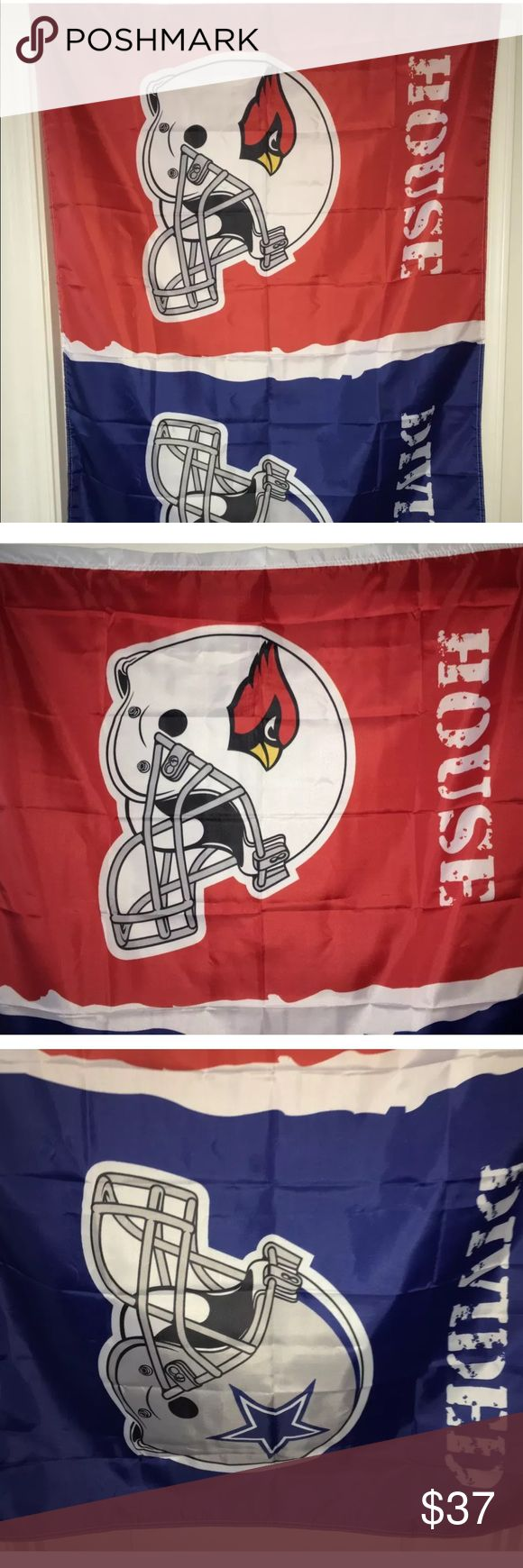 Cardinals Cowboys 3' x 5' house divided flag NIP Arizona Cardinal/Dallas Cowboys house divided team flag. Item measures 3' x 5', brand-new in the package.  There's always that one family member who cheers for a different team than everybody else, why not show the love and have an area where everybody can show support for their team!  For the diehard Cardinals and Cowboys fans you will remember this is a heated rivalry, they used to battle each other in the NFC East division years and years…