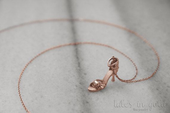 Gold Necklace Shoe Necklace Rose Gold Shoe Charm 14 by TalesInGold