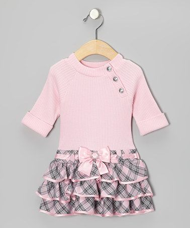 Pink & Gray Plaid Dress - Infant