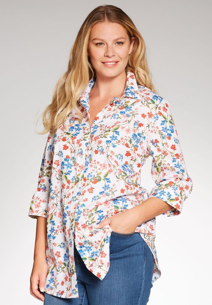 """For the greatest of ease, try our plus size shirt, here in super-soft woven cotton. Defined by its roomy, relaxed fit and comfortable styling, it's the ultimate casual go-to top!  relaxed, cling-free fit offers plenty of room to move your favorite 30"""" tunic length falls comfortably to upper thigh easy-fit shirt collar provides comfortable room around the neck 3/4 sleeves with generous width for ease of movement easy-fit shirttail hem soft woven washable cotton imported  Women&#3..."""